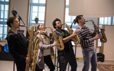 Saxophon-Quartett nimmt Filmmusik für Trickfilm des AV-Zweiges auf, Februar 2018